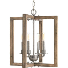 Medium Turnbury Chandelier in Distressed Pine Wood Frame and Galvanized Metal Details by Progress Lighting P4160-141