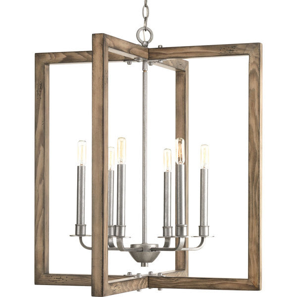 Large Turnbury Chandelier in Distressed Pine Wood Frame and Galvanized Metal Details by Progress Lighting P4161-141