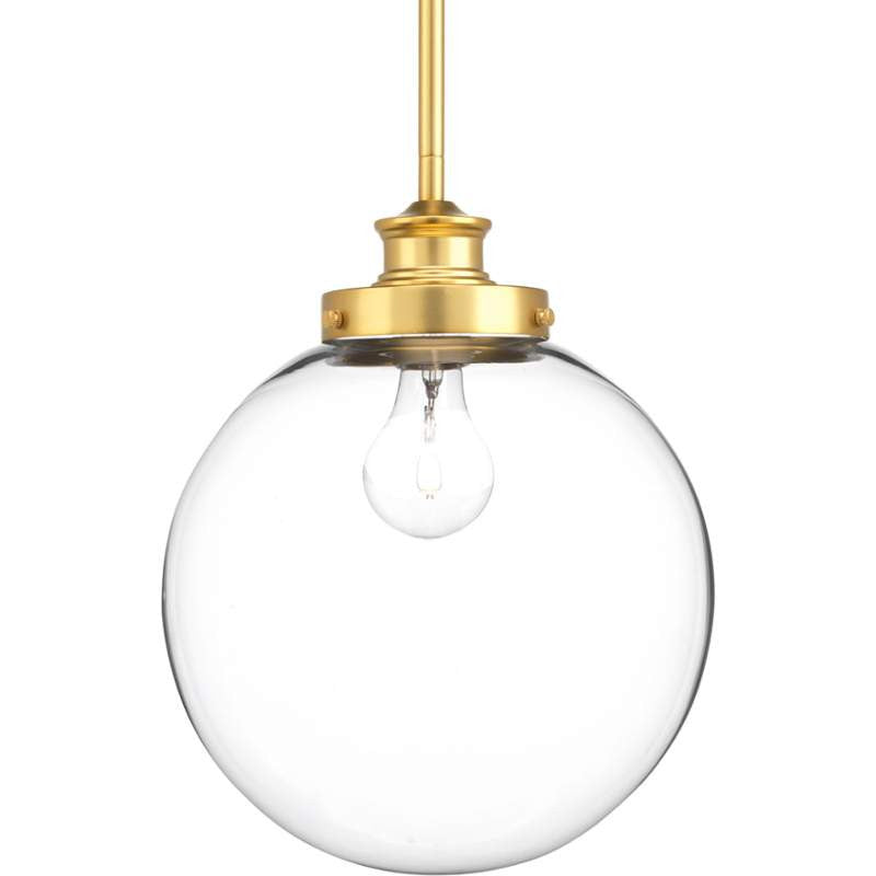 Penn Clear Glass Globe in Natural Brass by Progress Lighting P5070-137