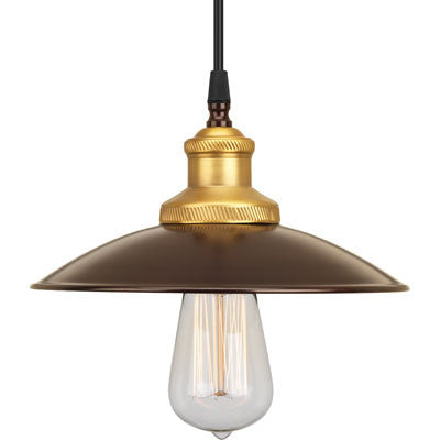 Small Archives Pendant in Antique Bronze with Satin Brass Accents by Progress P5161-20
