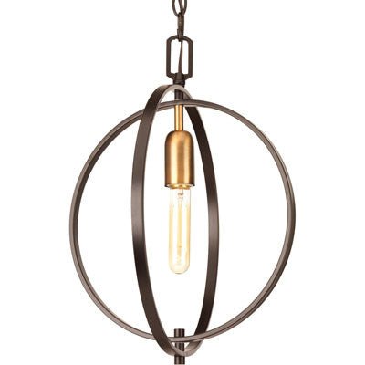 Small Swing Orb Pendant in Antique Bronze with Satin Brass Accents by Progress Lighting P5180-20