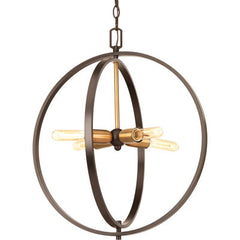 Medium Swing Orb Pendant in Antique Bronze with Satin Brass Accents by Progress Lighting P5190-20