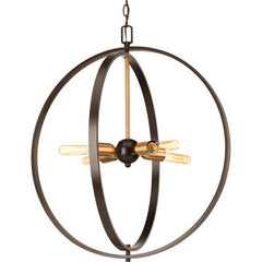 Large Swing Orb Pendant in Antique Bronze with Satin Brass Accents by Progress Lighting P5190-20