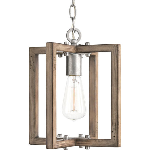 Turnbury Pendant with Distressed Pine Wood Frame and Galvanized Metal Accents by Progress P5317-141