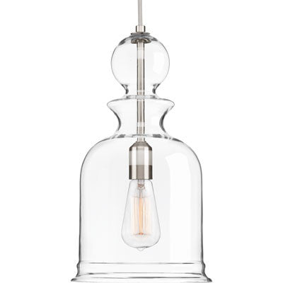 Progress Lighting Staunton Pendant in Brushed Nickel with Clear Glass P5333-09