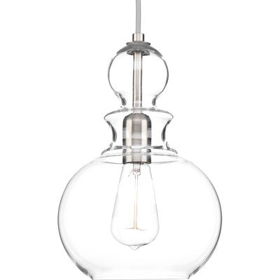 Progress Lighting Staunton Pendant in Brushed Nickel with Clear Glass P5334-09