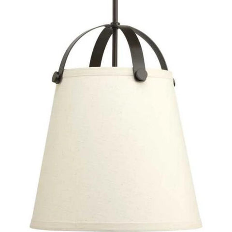 Galley Pendant, 2-Light Pendant, Antique Bronze, Off-White Linen Shade