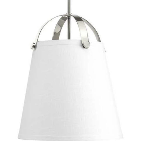 Galley Pendant, 2-Light Pendant, Polished Nickel, White Linen Shade