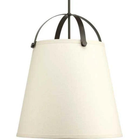 Galley Pendant, 3-Light Pendant, Antique Bronze, Off-White Linen Shade