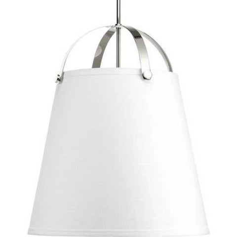 Galley Pendant, 3-Light Pendant, Polished Nickel, White Linen Shade