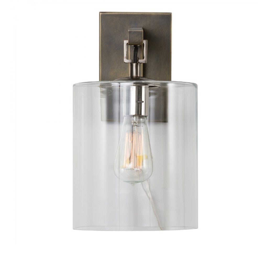 Parrish Wall Sconce in Antique Bronze with Cylinder Glass Shade by Arteriors Home 49953