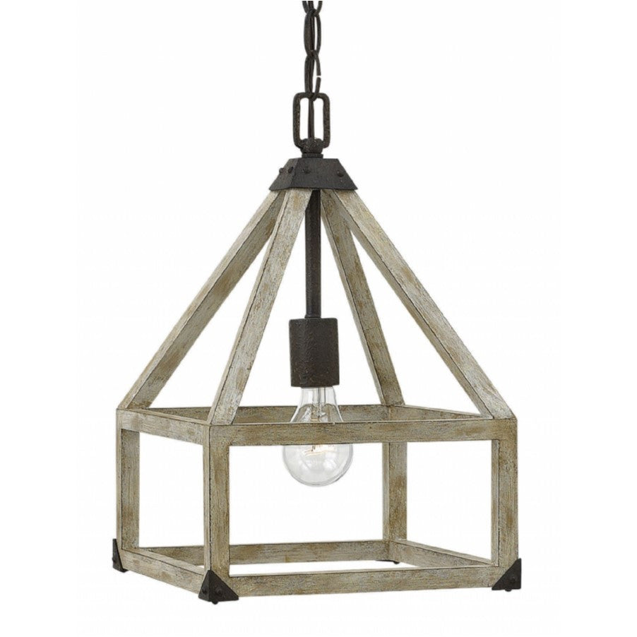 Fredrick Ramond Emilie Pendant by Hinkley Lighting in White Washed Wood and Iron Rust FR41207IRR