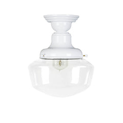 "Principal Scoolhouse Semi-Flush 14""W in White by Barn Light 