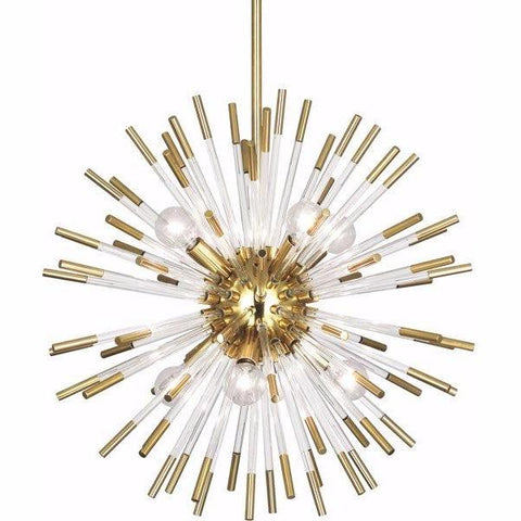 Andromeda Modern Brass and Lucite Starburst Chandelier by Robert Abbey 165