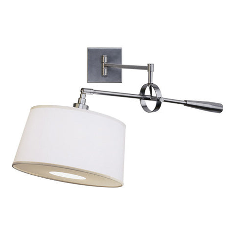 Real Simple Swing Arm Wall Sconce By Robert Abbey In Gunmetal With  Snowflake Fabric Shade 1829