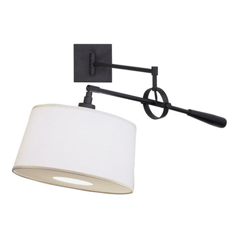 Real Simple Swing Arm Wall Sconce by Robert Abbey in Matte Black with Snowflake Fabric Shade  sc 1 st  Lighting Connection & Real Simple Black Wall Sconce by Robert Abbey | Lighting Connection ...