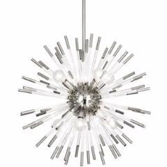 Andromeda Polished Nickel and Lucite Sputnik Chandelier by Robert Abbey S165
