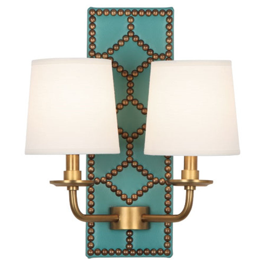 Williamsburg Lightfoot Wall Sconce in Mayo Teal Leather by Robert Abbey, #353
