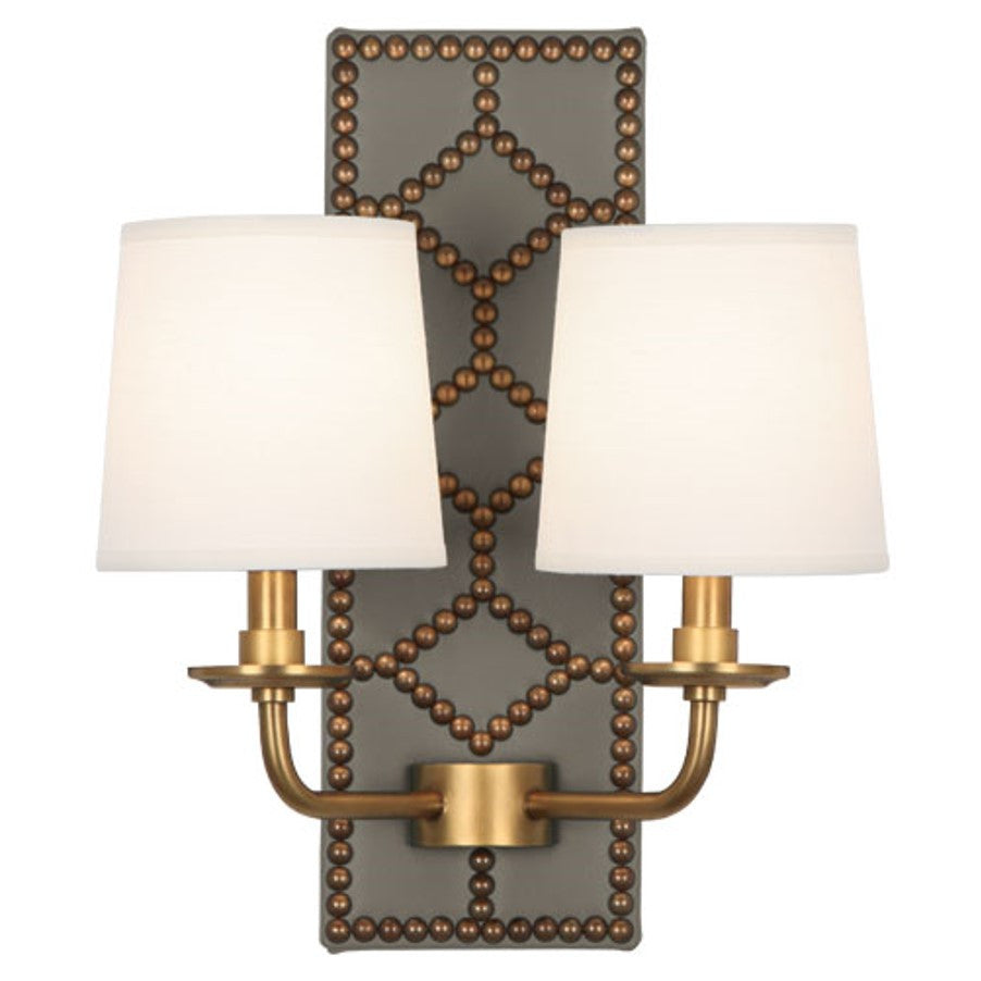 Williamsburg Lightfoot Wall Sconce in Carter Grey Leather by Robert Abbey. #354
