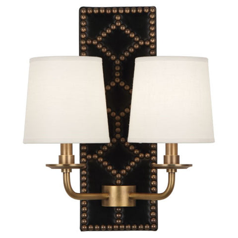 Williamsburg Lightfoot Wall Sconce in Blacksmith Black Leather by Robert Abbey. #355