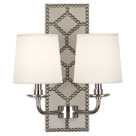 Williamsburg Lightfoot Wall Sconce in Bruton White Leather by Robert Abbey, #S352