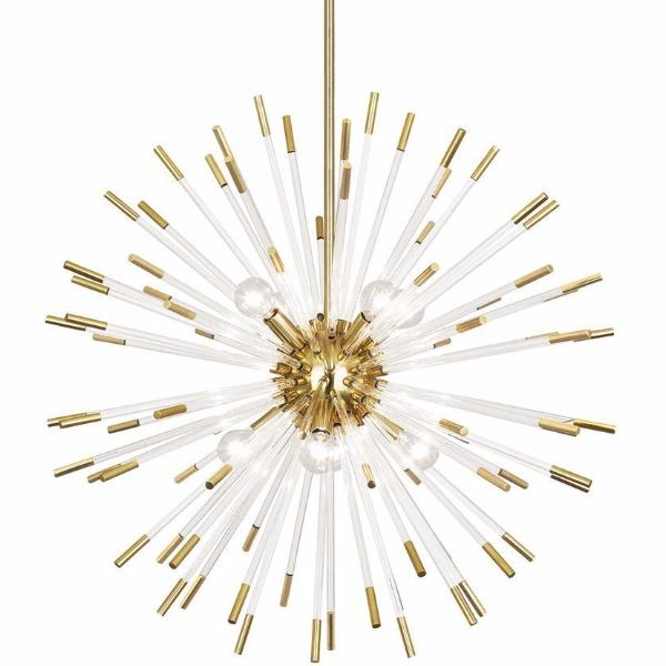 Andromeda Modern Brass and Lucite Sputnik Chandelier by Robert Abbey 166