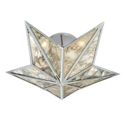 Visual Comfort Constellation Small Flush Mount in Polished Nickel with Antique Mirror SE4100PN