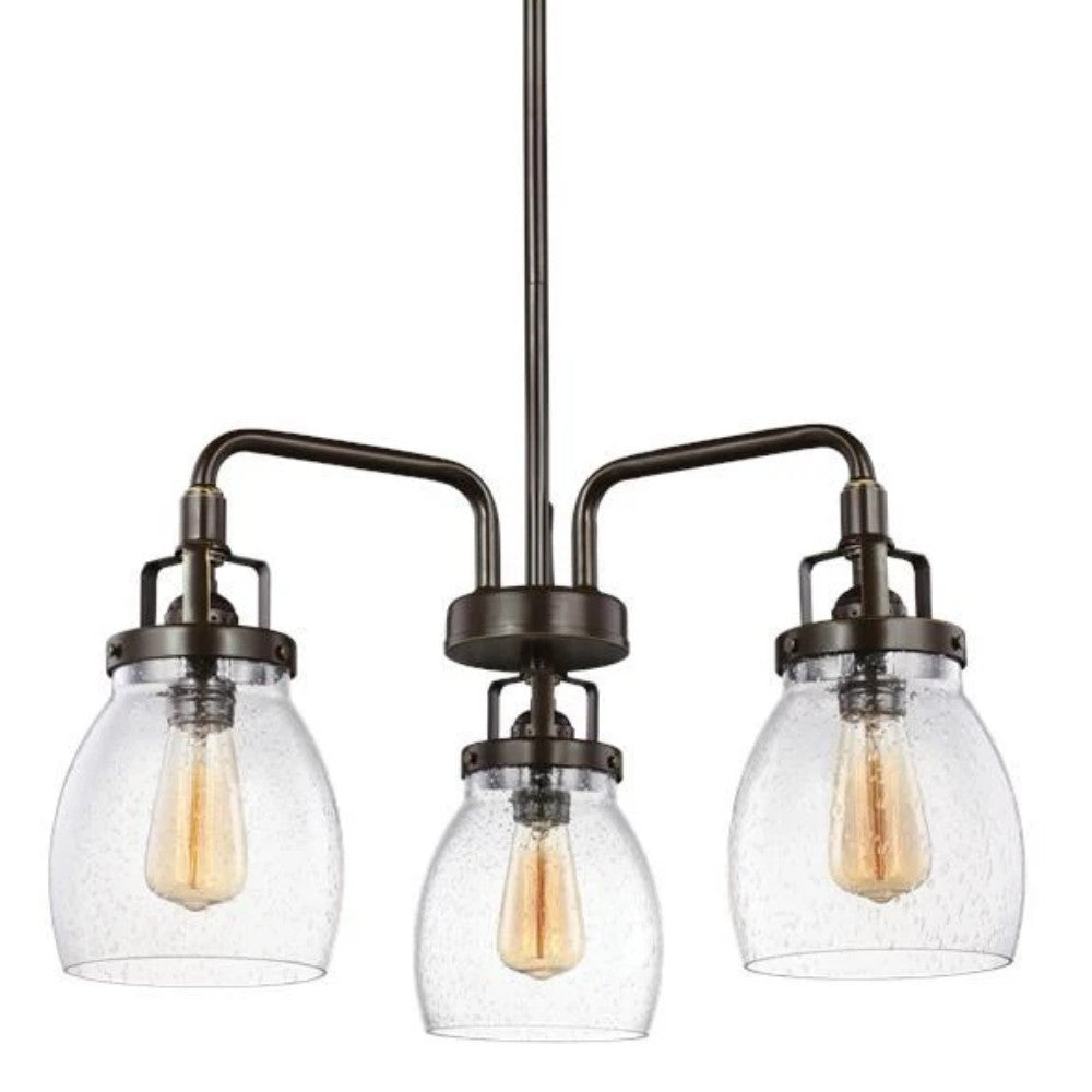 3 Light Belton Chandelier in Heirloom Bronze with Clear Seedy Glass by Sea Gull Lighting 3114503-782