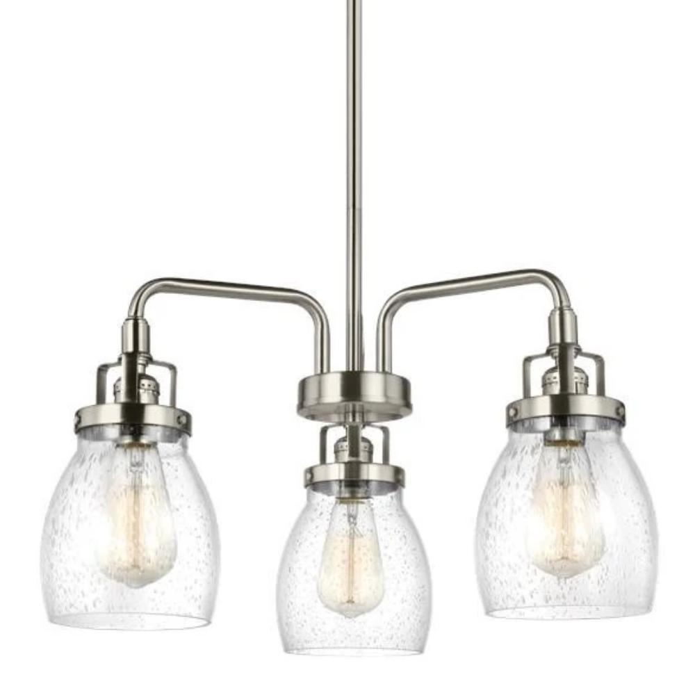 Sea Gull Belton 3 Light Chandelier in Brushed Nickel 3114503-962