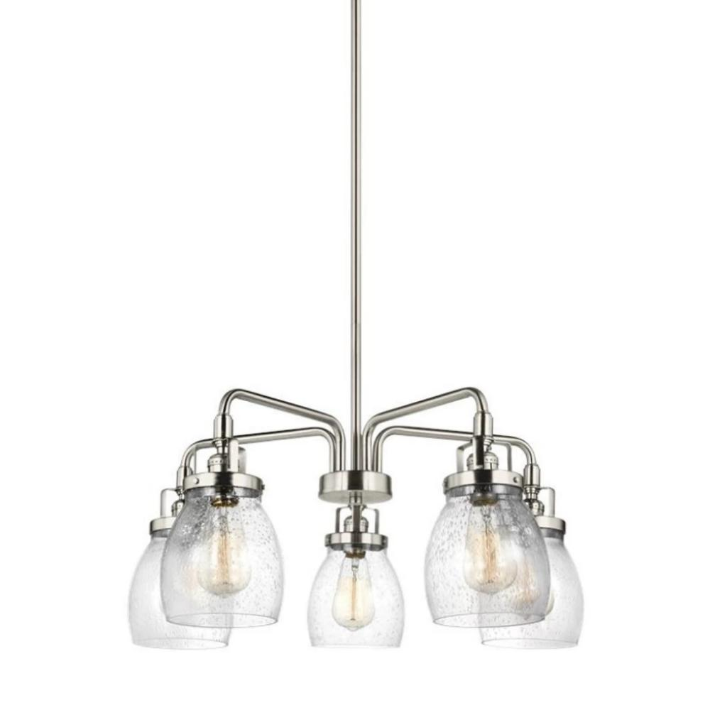5 Light Belton Chandelier in Brushed Nickel with Clear Seedy Glass by Sea Gull Lighting 3114505-962