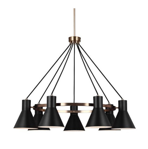 Towner black brass chandelier by sea gull lighting connection towner chandelier towner chandelier with black glass led by seagull lighting 3141307en 848 mozeypictures Image collections