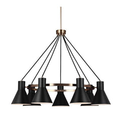 Towner Chandelier with Black Glass, LED, by Seagull Lighting, 3141307EN-848