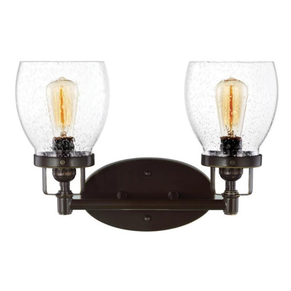 2 Light Belton Vanity in Heirloom Bronze with Clear Seedy Glass by Sea Gull Lighting 4414502-782