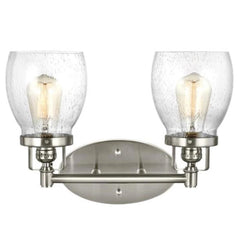 2 Light Belton Vanity in Brushed Nickel with Clear Seedy Glass by Sea Gull Lighting 4414502-962