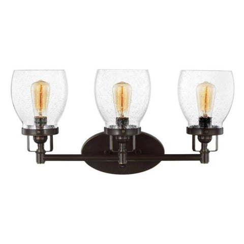 3 Light Belton Vanity in Heirloom Bronze with Clear Seedy Glass by Sea Gull Lighting 4414503-782