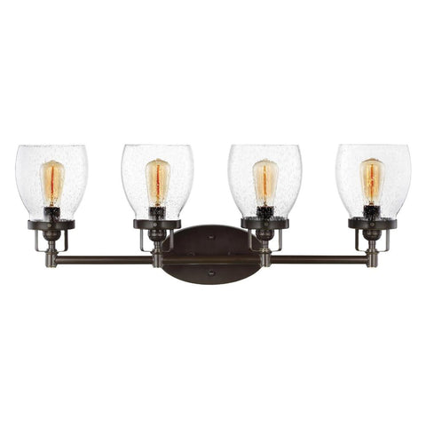 4 Light Belton Vanity in Heirloom Bronze with Clear Seedy Glass by Sea Gull Lighting 4414504-782