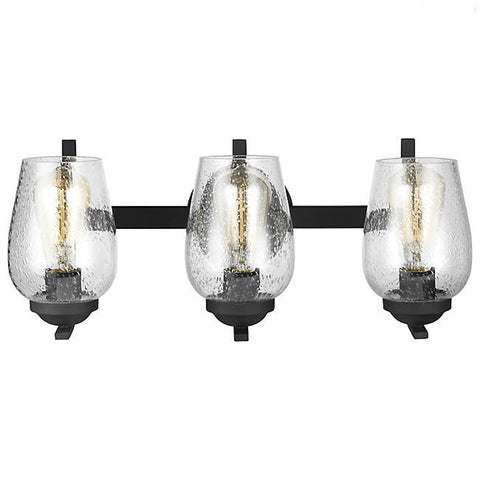 3 Light Industrial Morill Bath Light/Vanity Light in Blacksmith Finish by Sea Gull Lighting 4427803-839