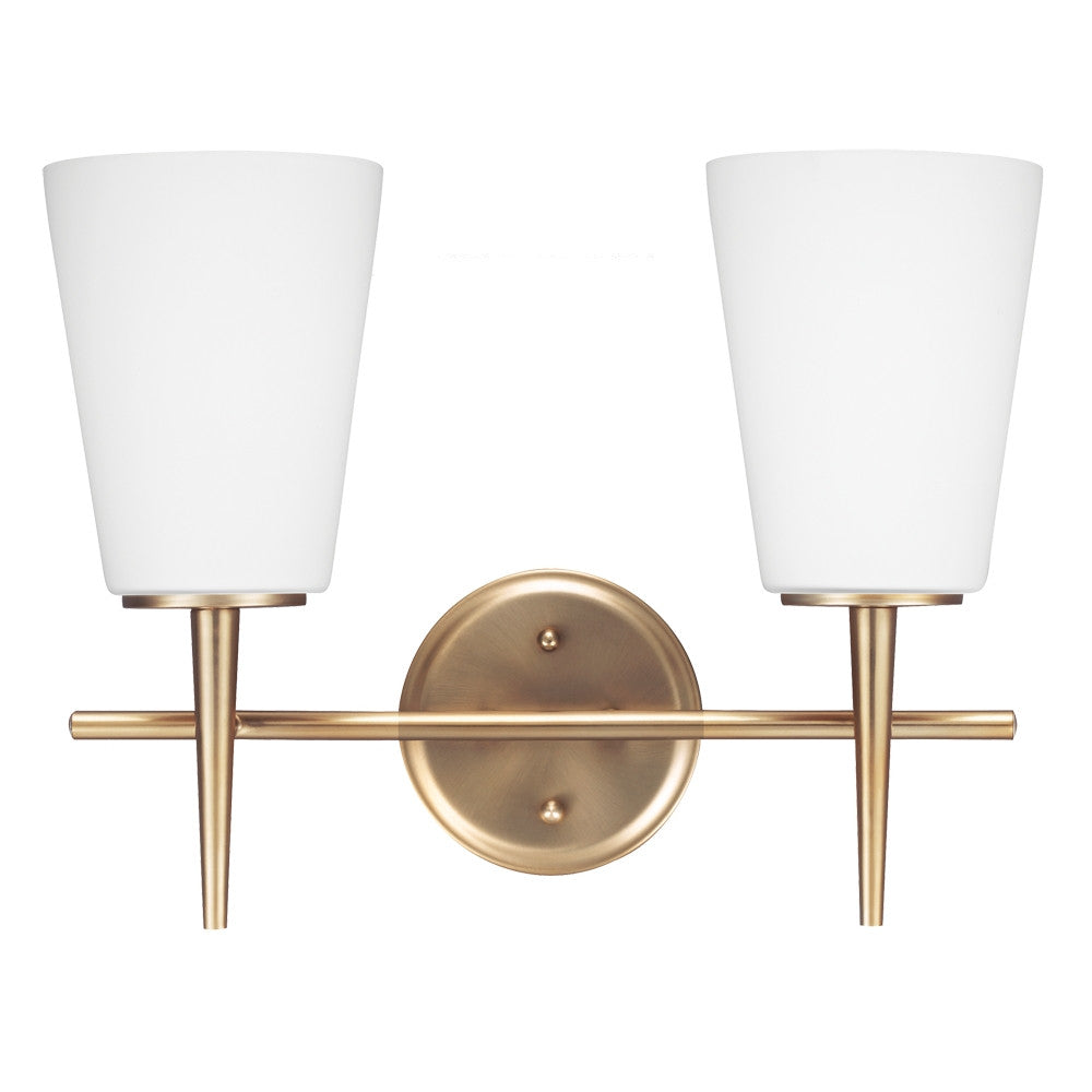 2 Light Driscoll Bath Light in Satin Bronze, by Seagull Lighting,  4440402-848