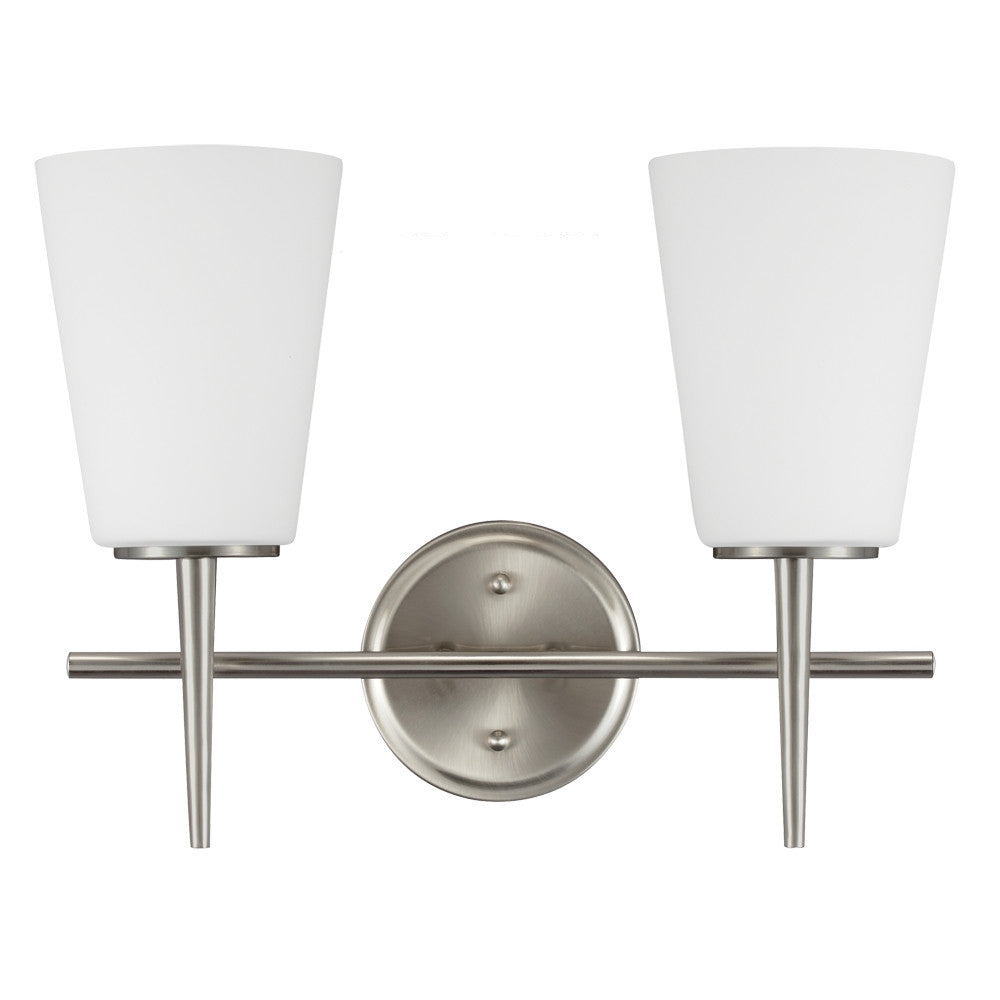 2 Light Driscoll Bath Light in Brushed Nickel, by Seagull Lighting, 4440402-962