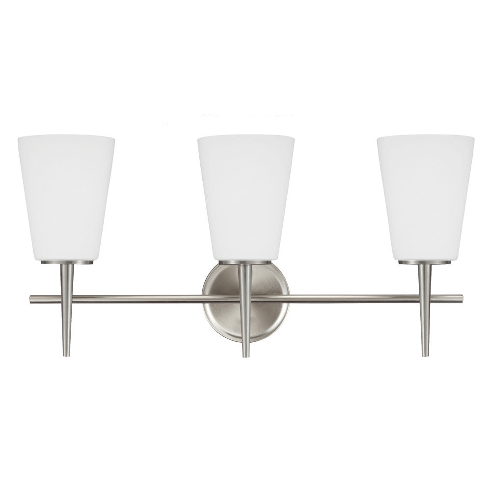 3 Light Driscoll Bath Light in Brushed Nickel, by Seagull Lighting, 4440403-962