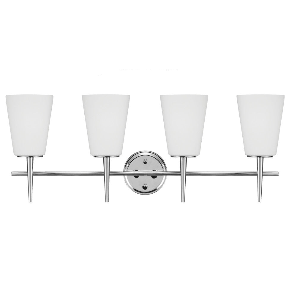 4 Light Driscoll Bath Light in Chrome, by Seagull Lighting, 4440404-05