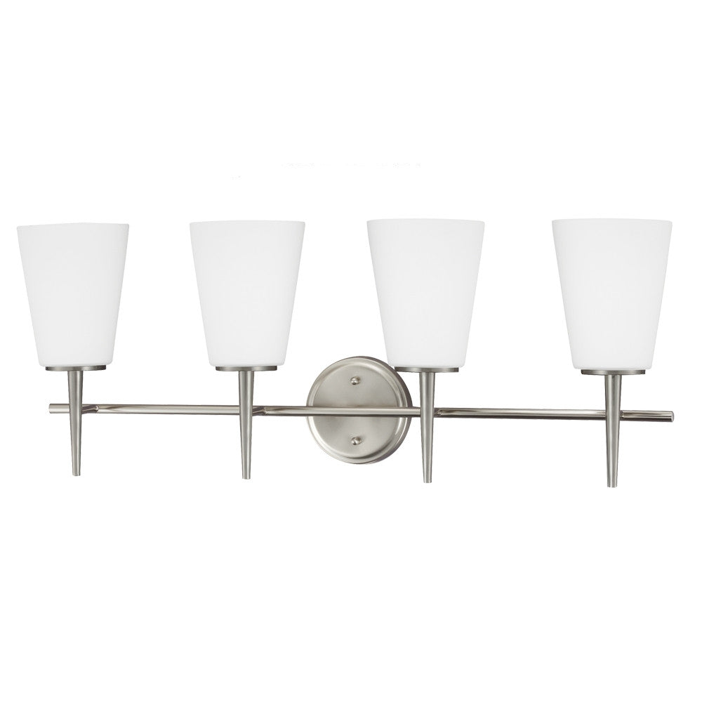 4 Light Driscoll Bath Light in Brushed Nickel, by Seagull Lighting, 4440404-962