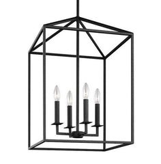 Large 4 Light Perryton Pendant in Blacksmith Finish by Sea Gull Lighting 5115004-839 | Black Metal Cage Lantern