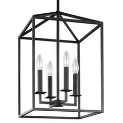 Small 4 Light Perryton Pendant in Blacksmith by Sea Gull Lighting 5215004-839 | Black Metal Cage Lantern