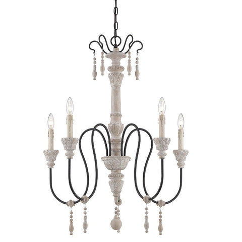 Ashland 5 Light Chandelier in White Washed Driftwood by Savoy House 1-290-5-23