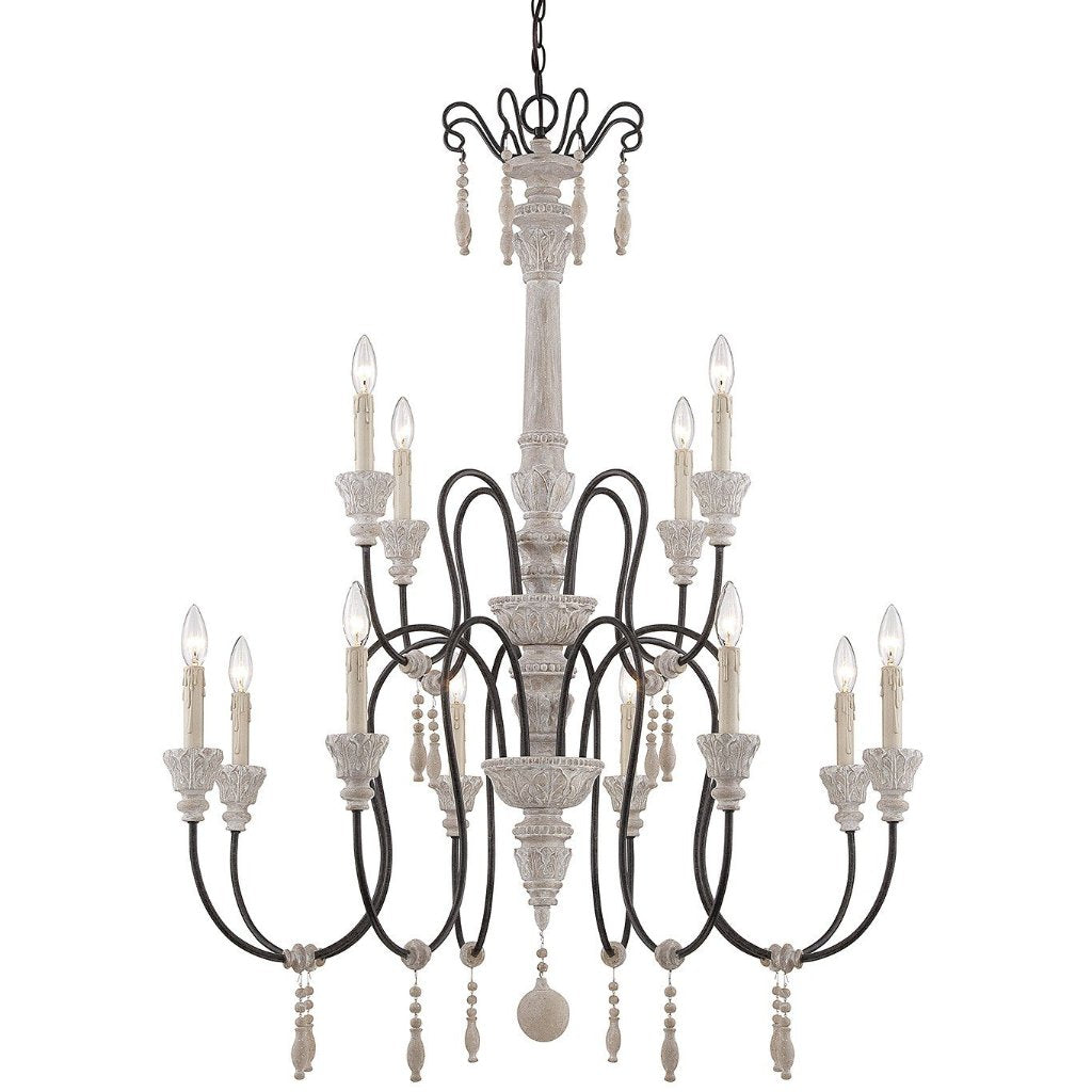 Ashland 12 Light Chandelier in White Washed Driftwood by Savoy House 1-292-12-23
