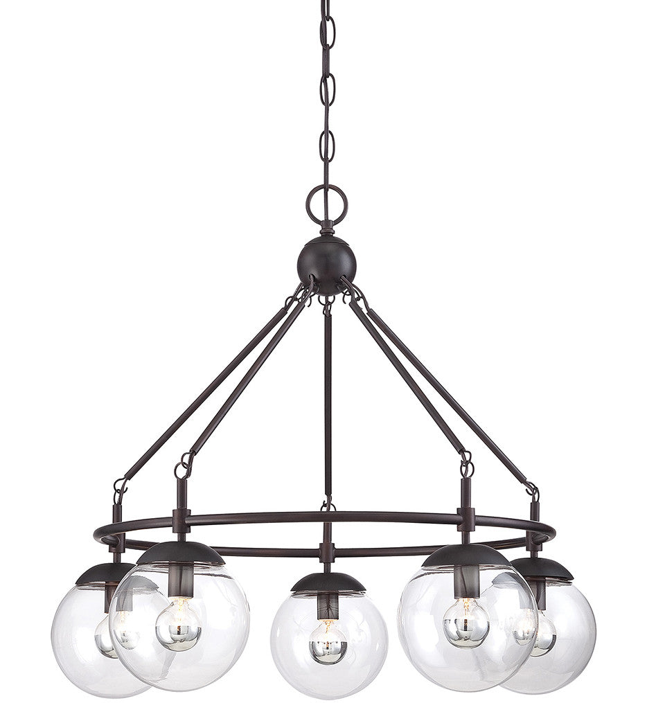Savoy House 5 Light Argo Chandelier in English Bronze with Clear Glass Globes by 1-350-5-13