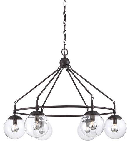 6 Light Argo Chandelier in English Bronze with Clear Glass Globes by Savoy House 1-350-6-13