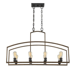 Savoy House 8 Light Gage Linear Chandelier in Woodland Bronze 1-6059-8-87