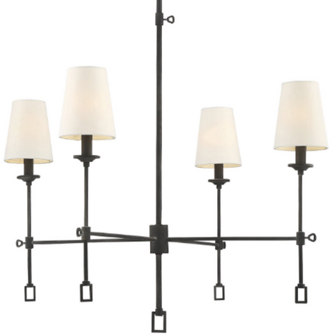 Lorainne 4 Light Chandelier by Savoy House in Oxidized Black with Fabric Shades 1-9000-4-88